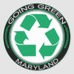 Going Green Recycle Maryland Round Stickers