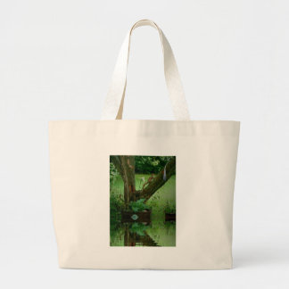 Going Green Squirrel on Tree Water Reflection Large Tote Bag