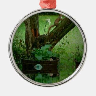 Going Green Squirrel on Tree Water Reflection Metal Ornament