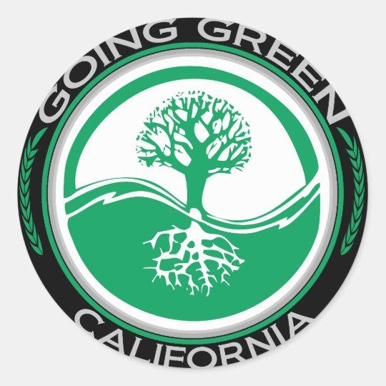 Going Green Tree California Classic Round Sticker