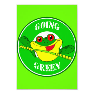GOING GREEN TREE FROG HAPPY CARTOON CAUSES ENVIRON CARD