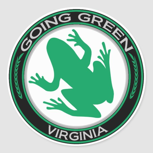 Going Green Virginia Frog Classic Round Sticker