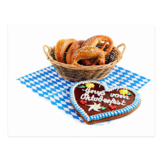 Going hereditary READ heart with pretzel. Postcard
