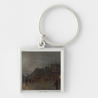 Going Home at Dusk, 1882 Silver-Colored Square Keychain