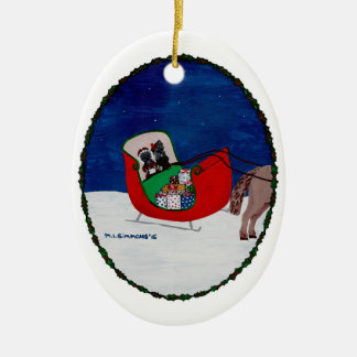 GOING HOME FOR CHRISTMAS Double-Sided OVAL CERAMIC CHRISTMAS ORNAMENT