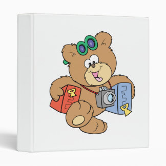 going on vacation tourist teddy bear 3 ring binder