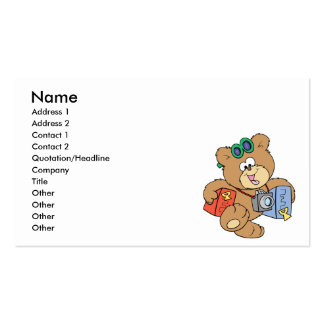 going on vacation tourist teddy bear business card