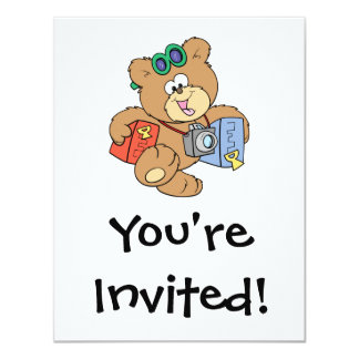going on vacation tourist teddy bear personalized invitations