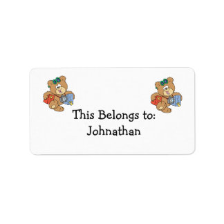 going on vacation tourist teddy bear label
