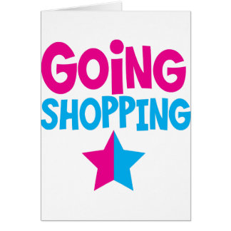 Going shopping in pink and blue greeting card