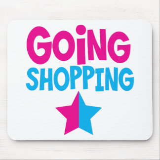 Going shopping in pink and blue mouse pad