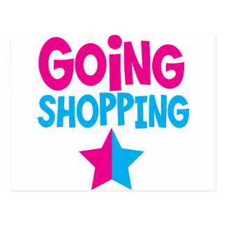 Going shopping in pink and blue postcard