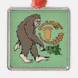 Going Squatchin Square Metal Christmas Ornament