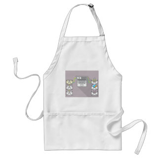 Going through emails on laptop adult apron