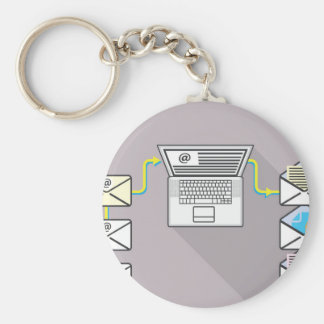 Going through emails on laptop keychain
