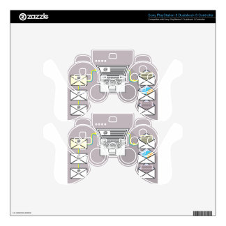 Going through emails on laptop PS3 controller skin