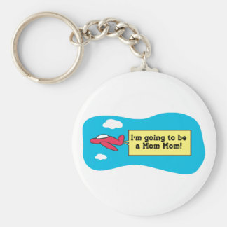 Going to be a MomMom! Basic Round Button Keychain
