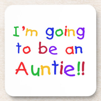 Going To Be An Auntie Primary Colors Gifts Drink Coaster