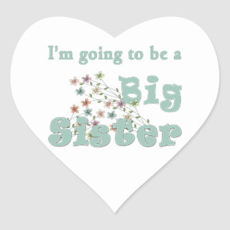 Going To Be Big Sister Flowers Heart Stickers