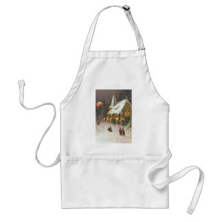 Going To Church Tree Snow Moon Stars Adult Apron