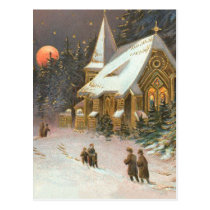 Going To Church Tree Snow Moon Stars Postcard