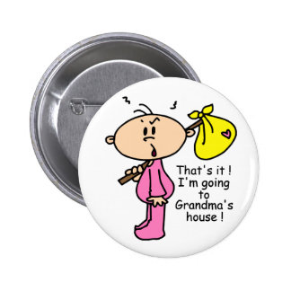 Going To Grandma's House Baby (Pink) Button