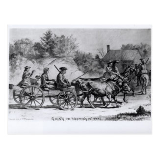 Going to Meeting in 1776, 1876 Postcard