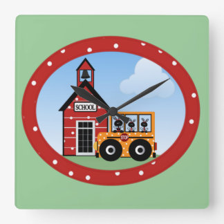 Going to School Square Wall Clock