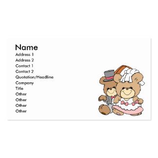 going to the chapel bride and groom bears business card