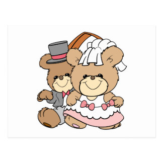going to the chapel bride and groom bears postcard