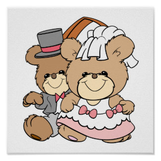 going to the chapel bride and groom bears poster
