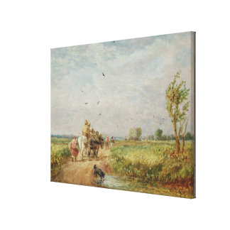 Going to the Hayfield, 1853 (oil on millboard) Canvas Print