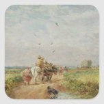 Going to the Hayfield, 1853 (oil on millboard) Square Stickers