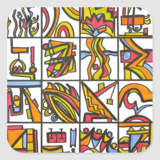 Going To The Playground - Abstract Art Square Sticker