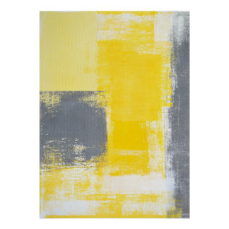 'Going Up' Grey and Yellow Abstract Art Poster