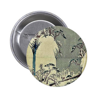 Going up the Fuji River, winter by Ando,Hiroshige Pinback Buttons