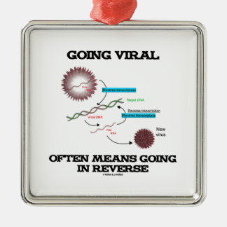 Going Viral Often Means Going In Reverse (RNA) Square Metal Christmas Ornament