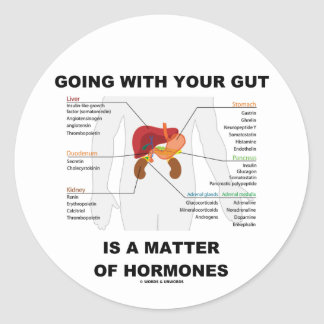 Going With Your Gut Is A Matter Of Hormones Classic Round Sticker