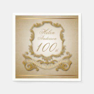 Gold 100th Birthday Celebration Paper Napkins