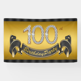 Gold 100th Birthday Party Banner