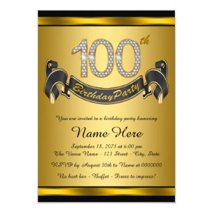 100th Birthday Party Invitations Announcements Zazzle