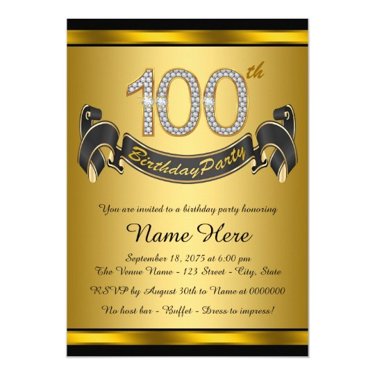 Gold 100th birthday party invitation zazzle gold 100th birthday party invitation filmwisefo