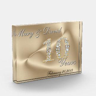 Gold 10 Year Anniversary Acrylic Award