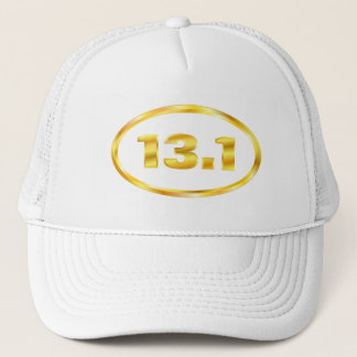 Gold 13.1 Half Marathon Oval Trucker Hat
