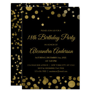 Gold 18th Birthday Party Gold Confetti Card