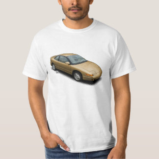 Gold 1991 Saturn SC2 on White T-Shirt