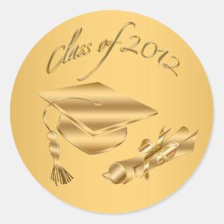 Gold 2012 Graduation Cap & Diploma Seals Classic Round Sticker