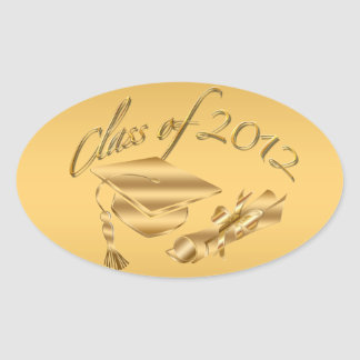Gold 2012 Graduation Cap & Diploma Seals Oval Sticker
