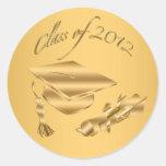 Gold 2012 Graduation Cap & Diploma Seals Round Stickers