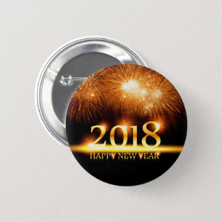 Gold 2018 Happy New Year Fireworks button